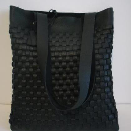 Leather Tote - Black Leather Tote- ..