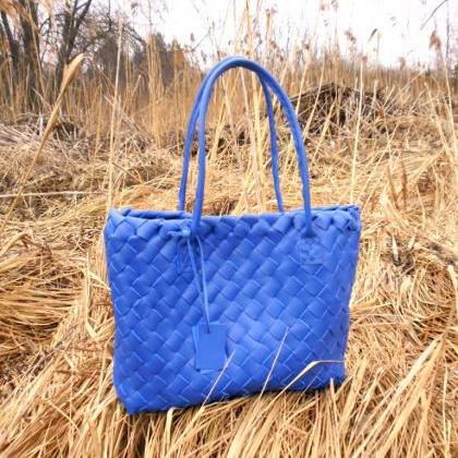 Blue Leather Tote - Leather tote - ..